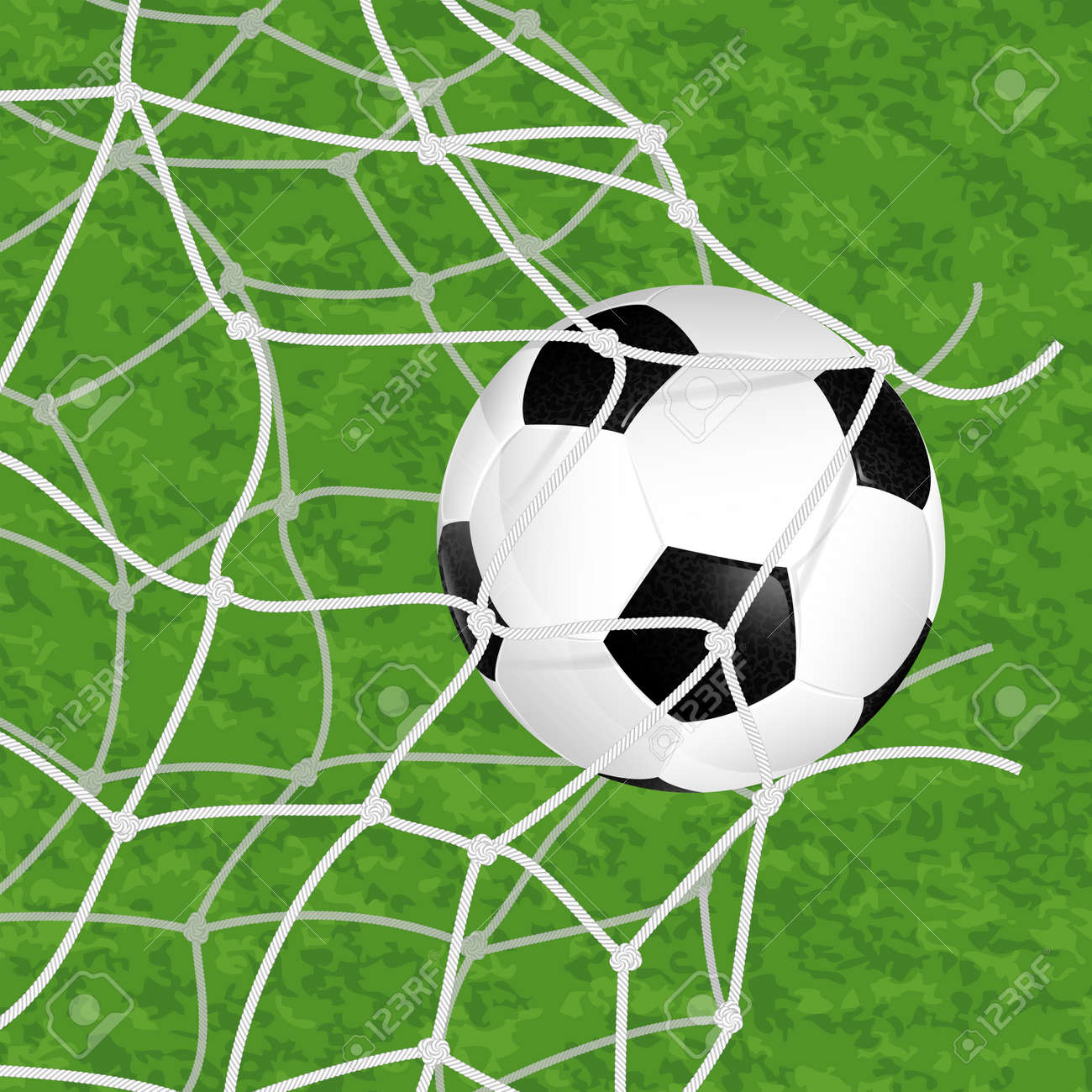 Soccer Concept - Goal. Soccer Ball in Net Torn on textured grass background, vector illustration Stock Vector - 23292452