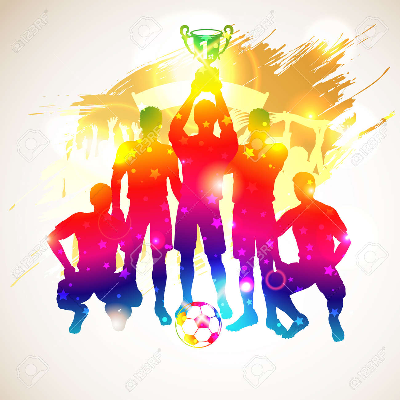 sports fan clipart. sports fan: bright rainbow silhouettes soccer players with cup and fans on grunge background, fan clipart