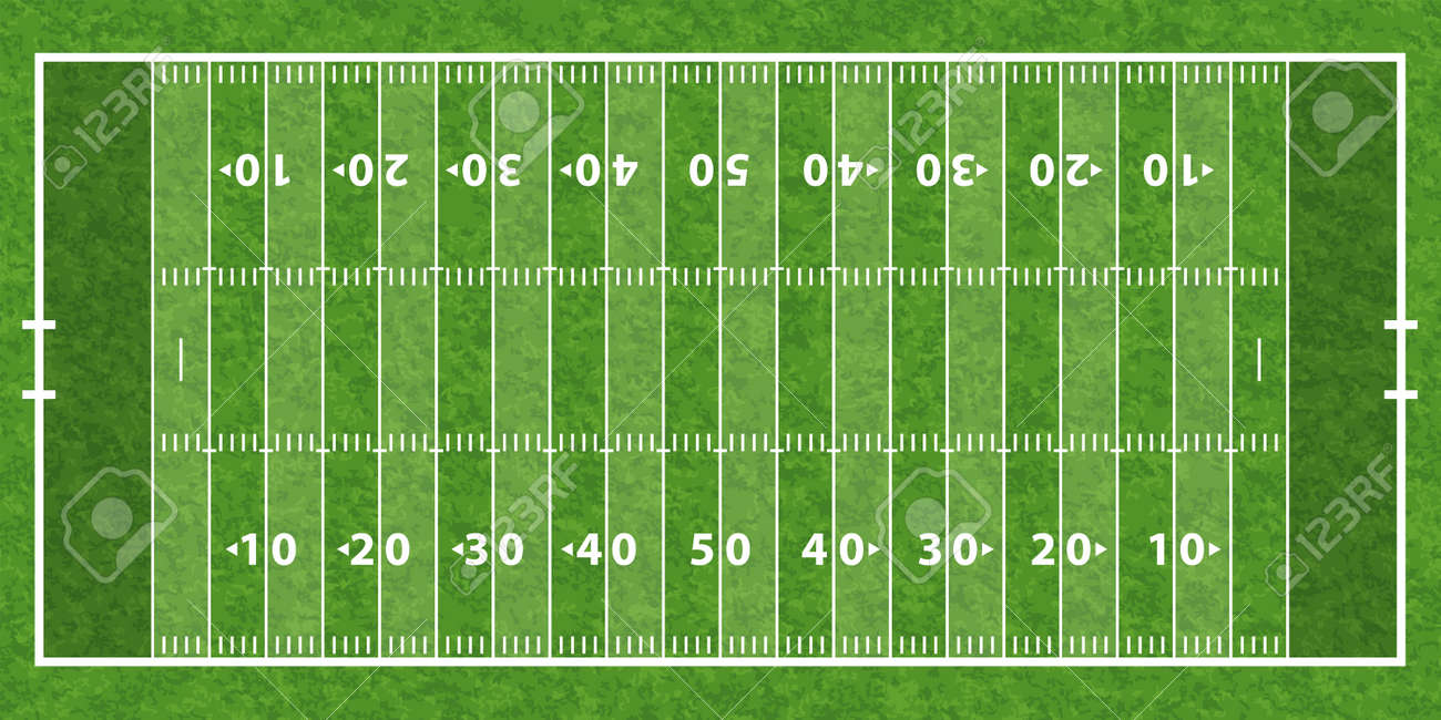 American Football Field With Line And Grass Texture Vector