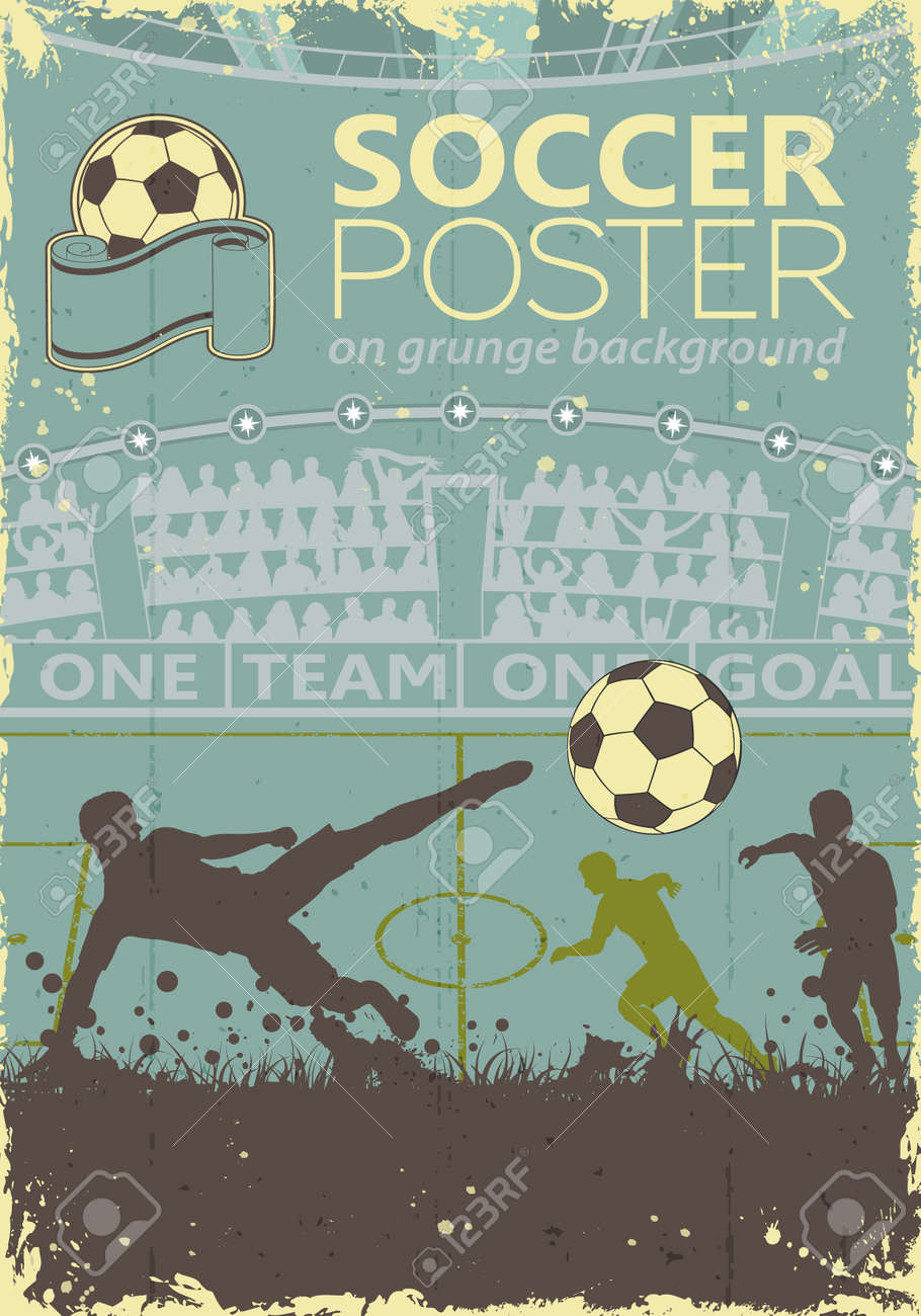 Soccer Poster with Players and Fans in retro colors on grunge background, vector illustration - 27751513