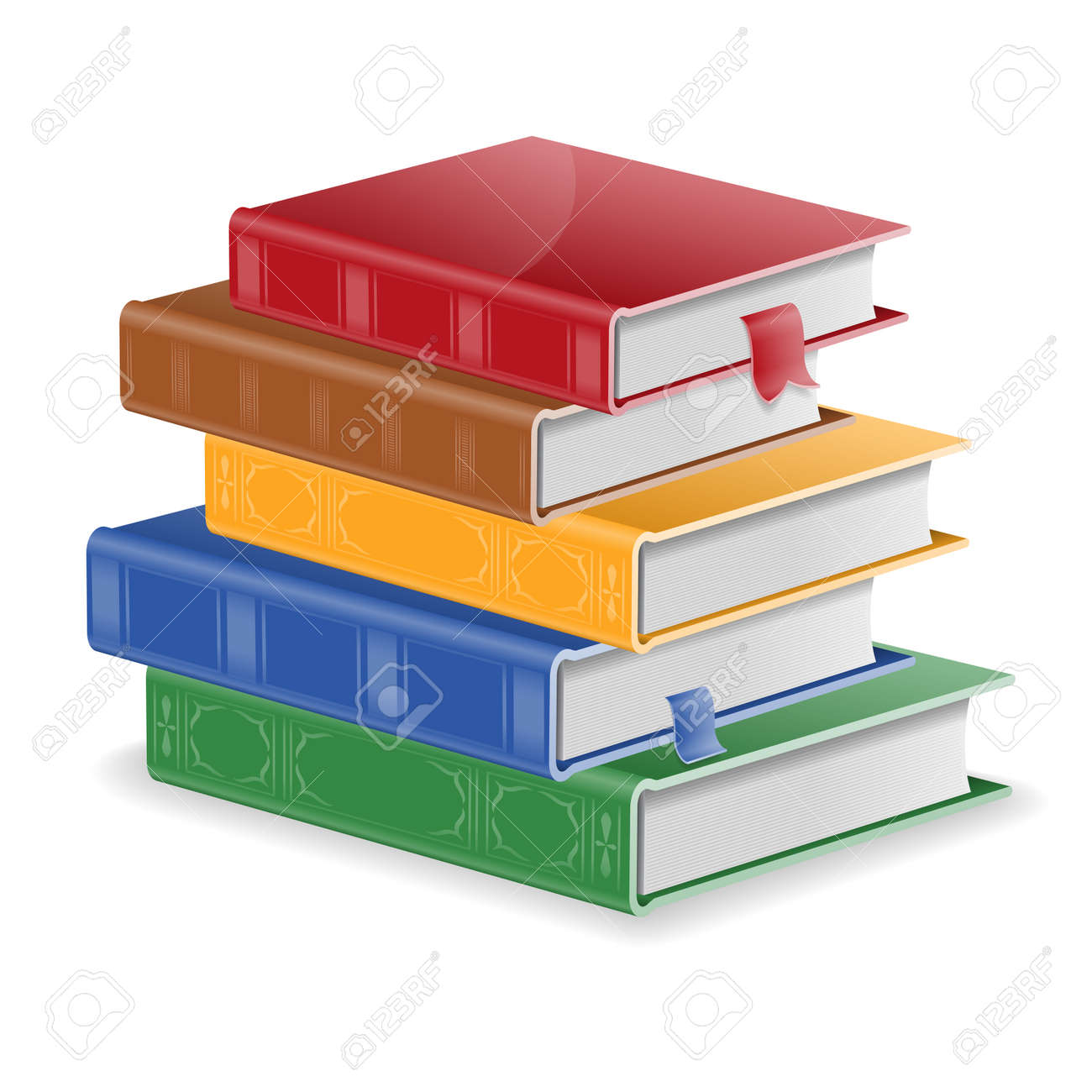 Back To School Concept - Stack Of Colored Books With Bookmarks ...