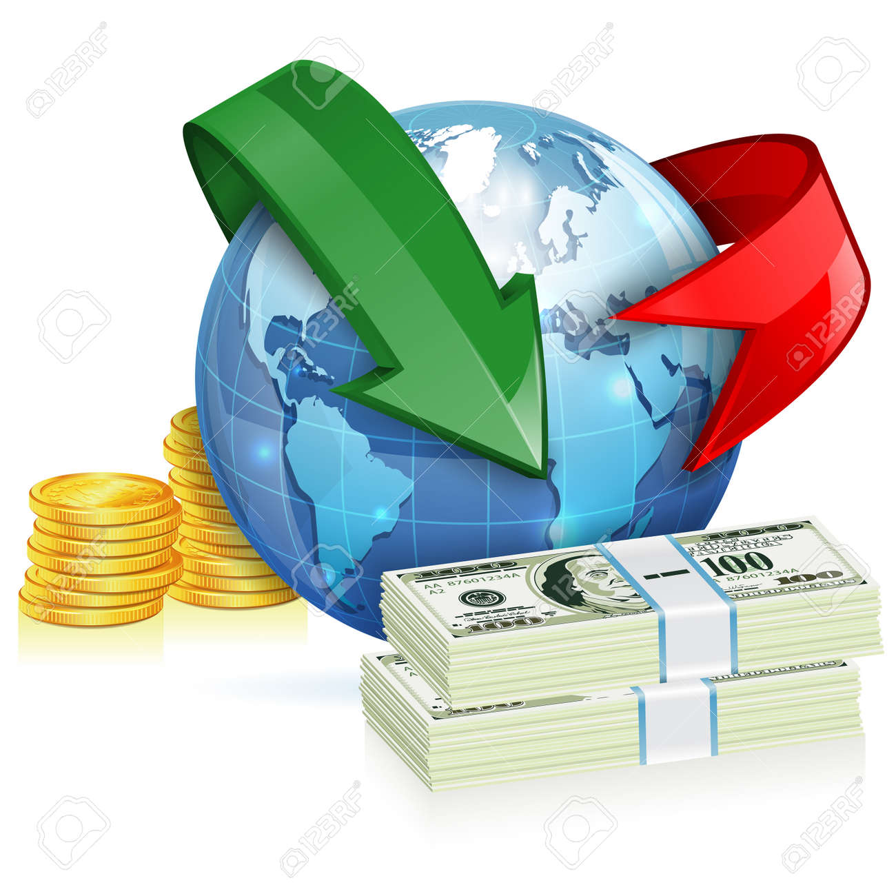 Global Money Transfer Concept with Coins - 31395892