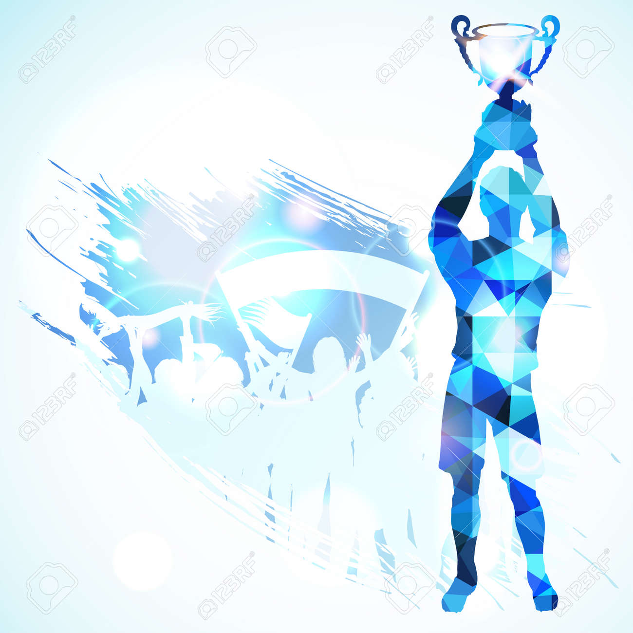 Silhouettes Soccer Player with Trophy and Fans in Mosaic Pattern on grunge background, vector illustration. - 33750404