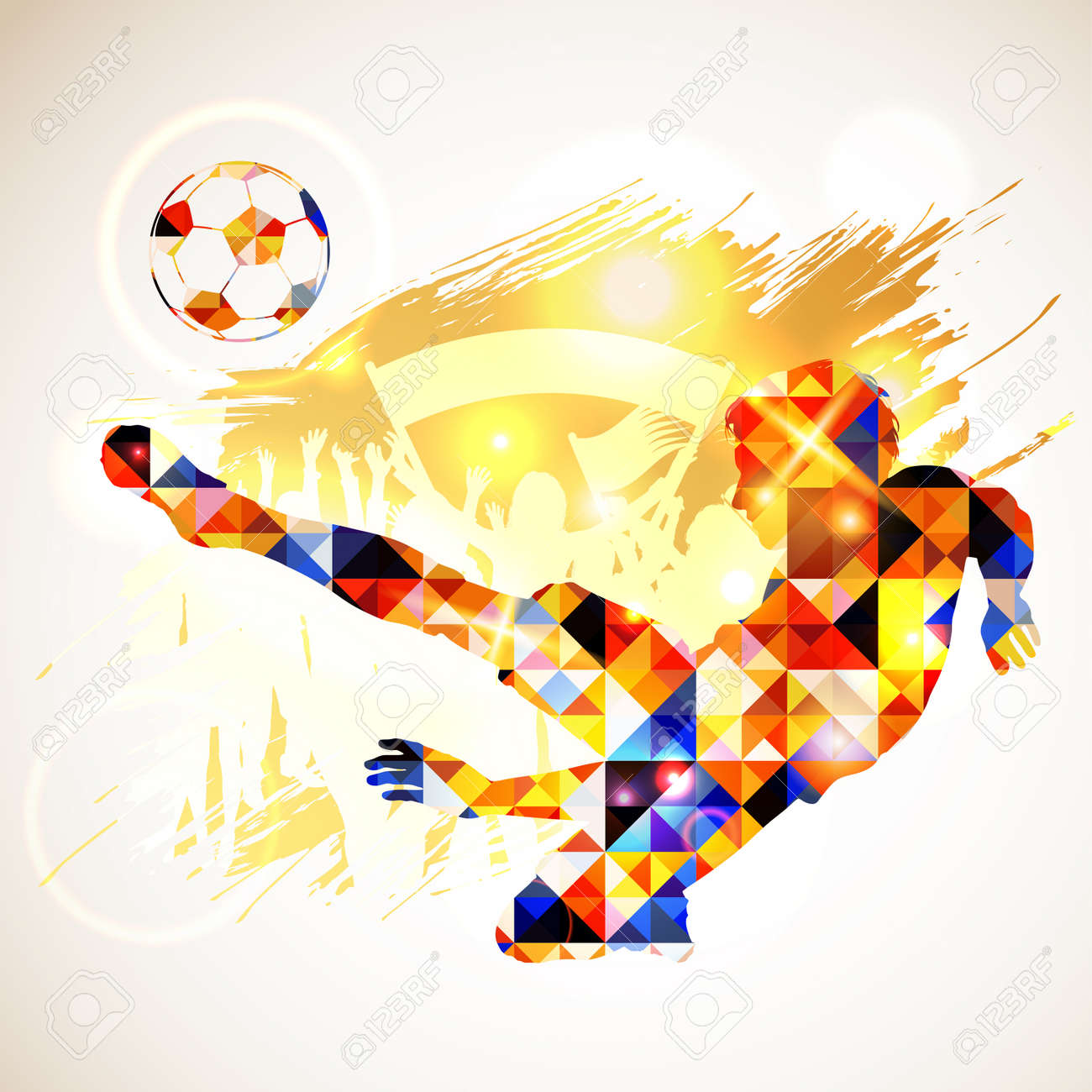 Silhouette Soccer Player and Ball in Mosaic Pattern with Fans on Grunge Background. Vector illustration. - 33750482