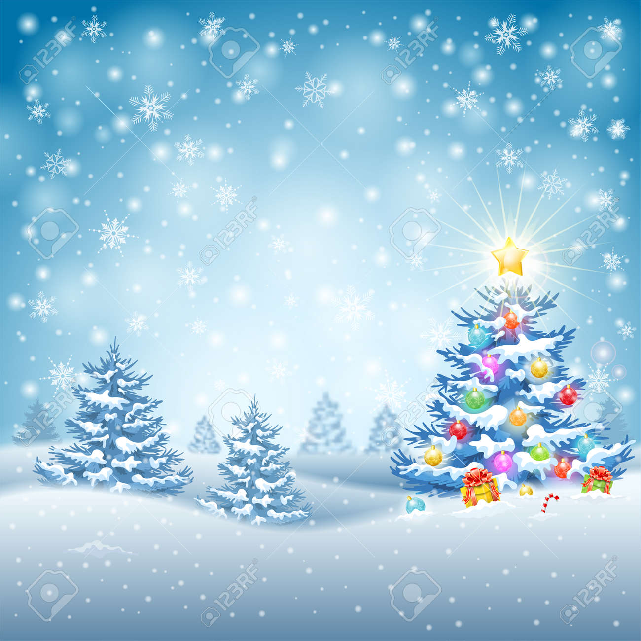 Hintergrund Weihnachten Mit Baum, Kugeln, Geschenke, Süßigkeiten Und ...