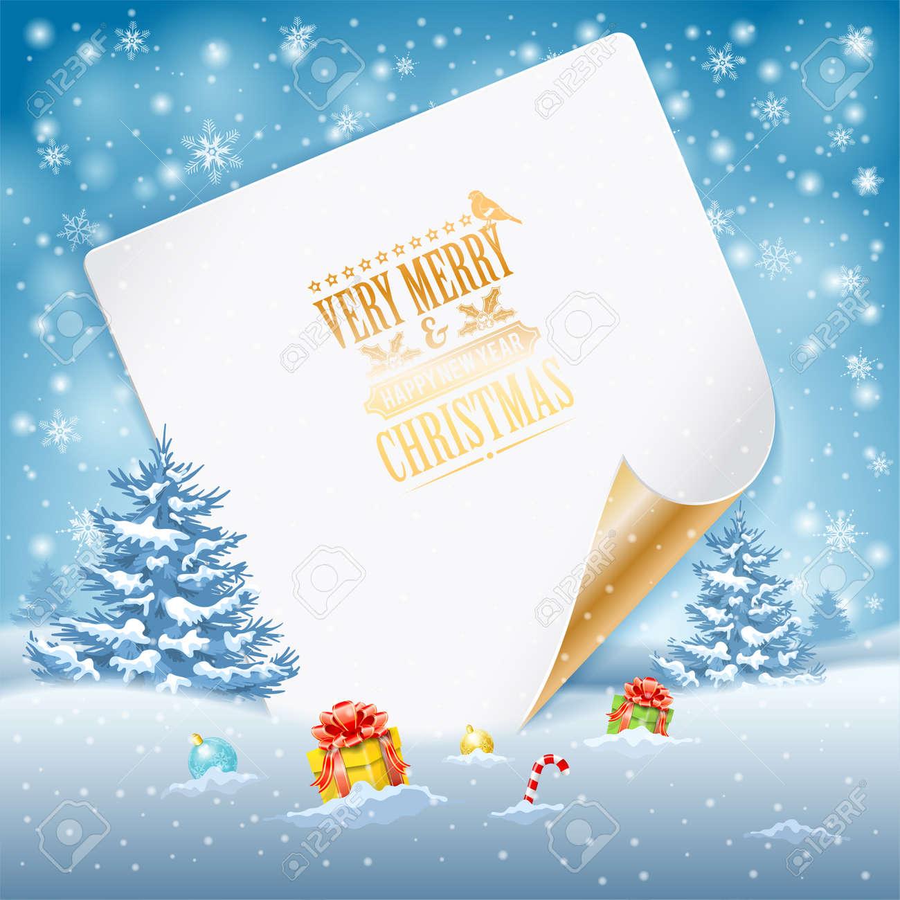 Tarjeta De Felicitación De Navidad Con árboles, Caramelo, Regalos ...
