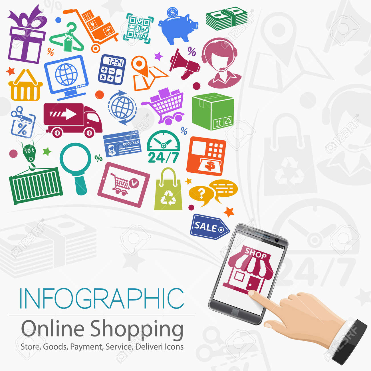 Internet Shopping Infographic with Hand, Set Icons for e-commerce, Box and Earth Map. - 36573605