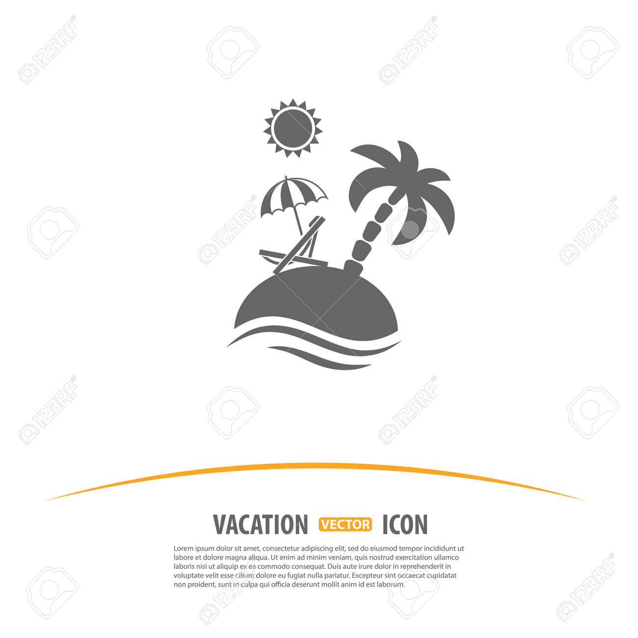 Beach chair and umbrella black and white - Travel Tourism And Vacation Logo Design Template Island With Palms Sun Umbrella