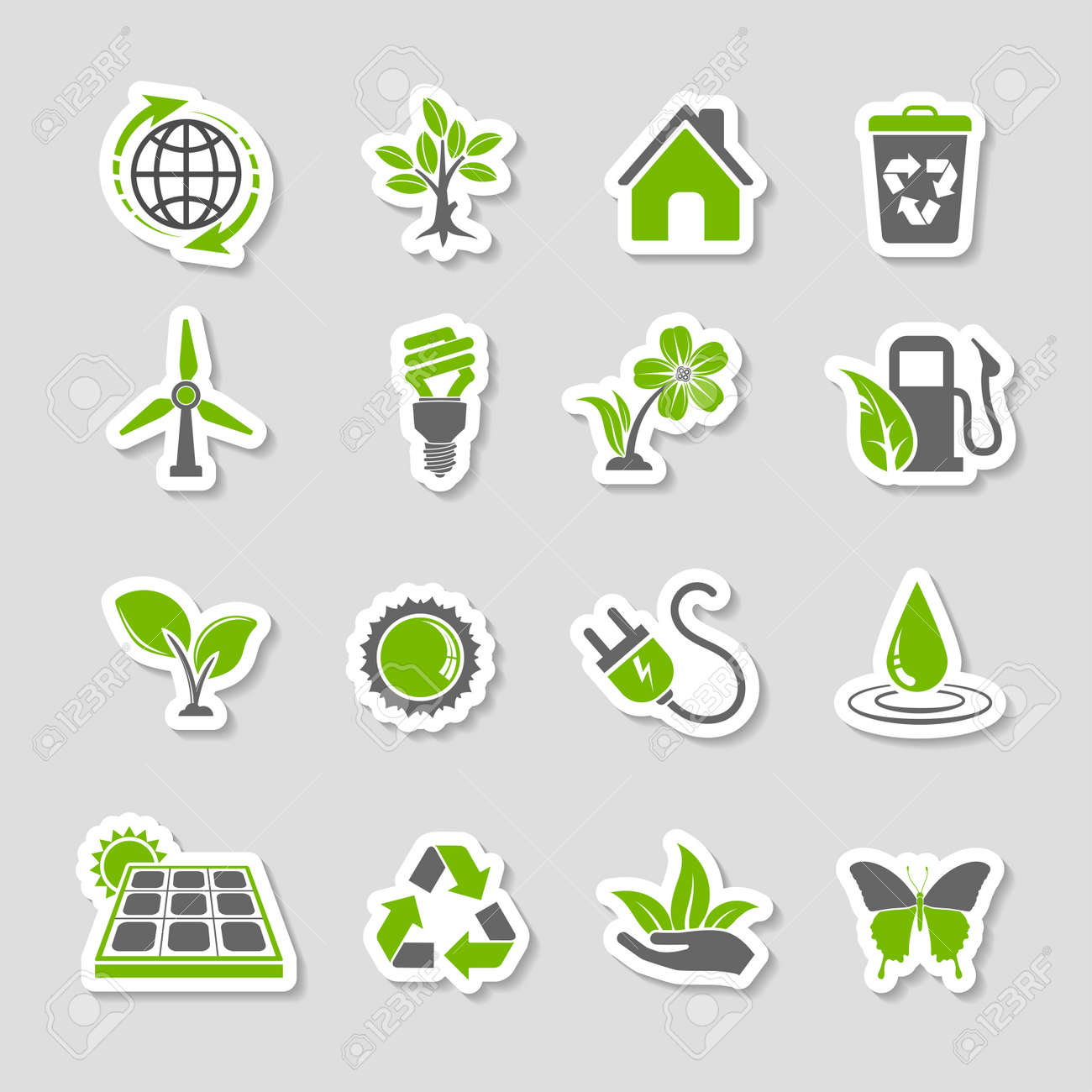 Collect Environment Icons Sticker Set with Tree, Leaf, Light Bulb, Recycling Symbol. Vector in two colours. - 36627768