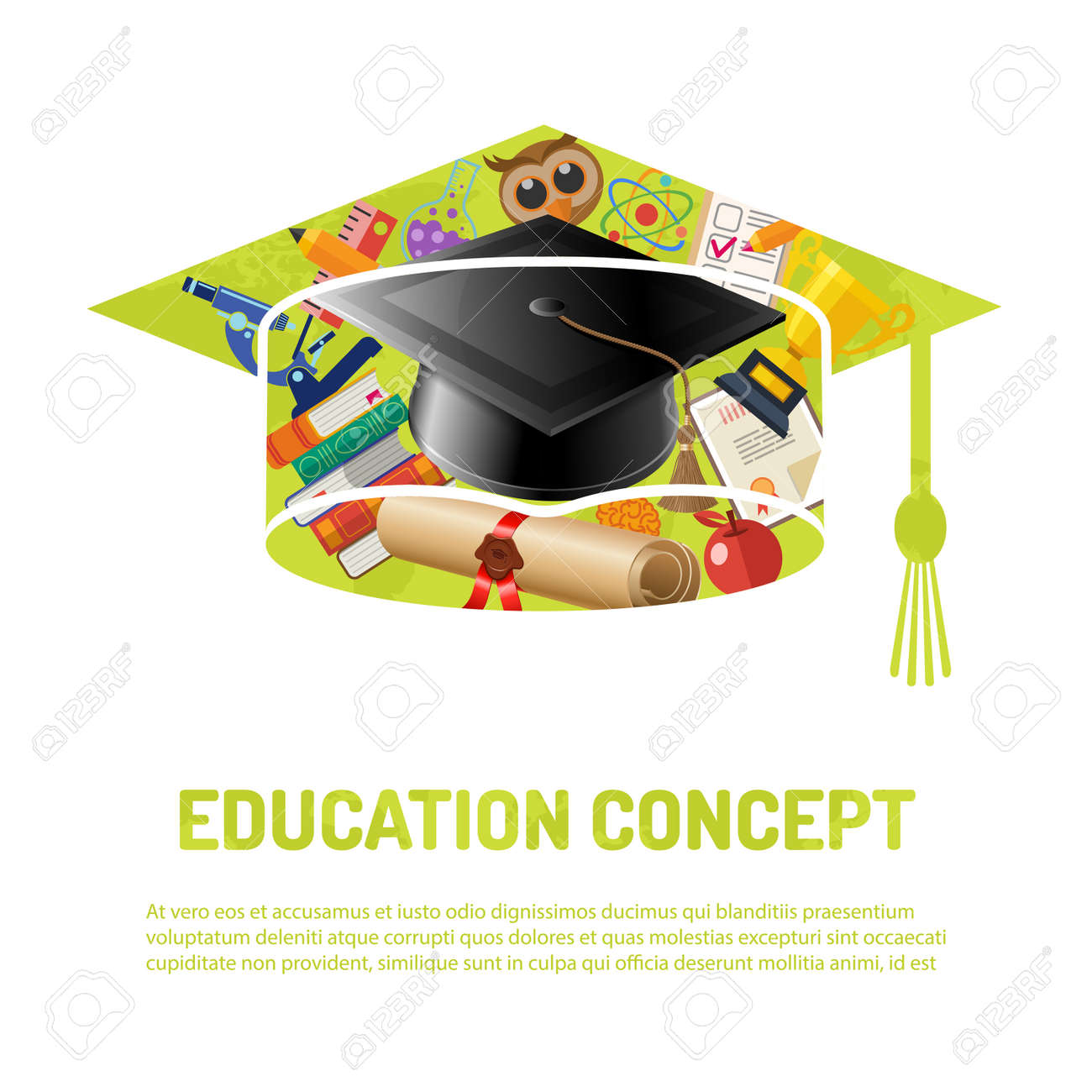 E learning poster designs - Online Education And E Learning Poster Flat Icon Set With Mortarboard Books