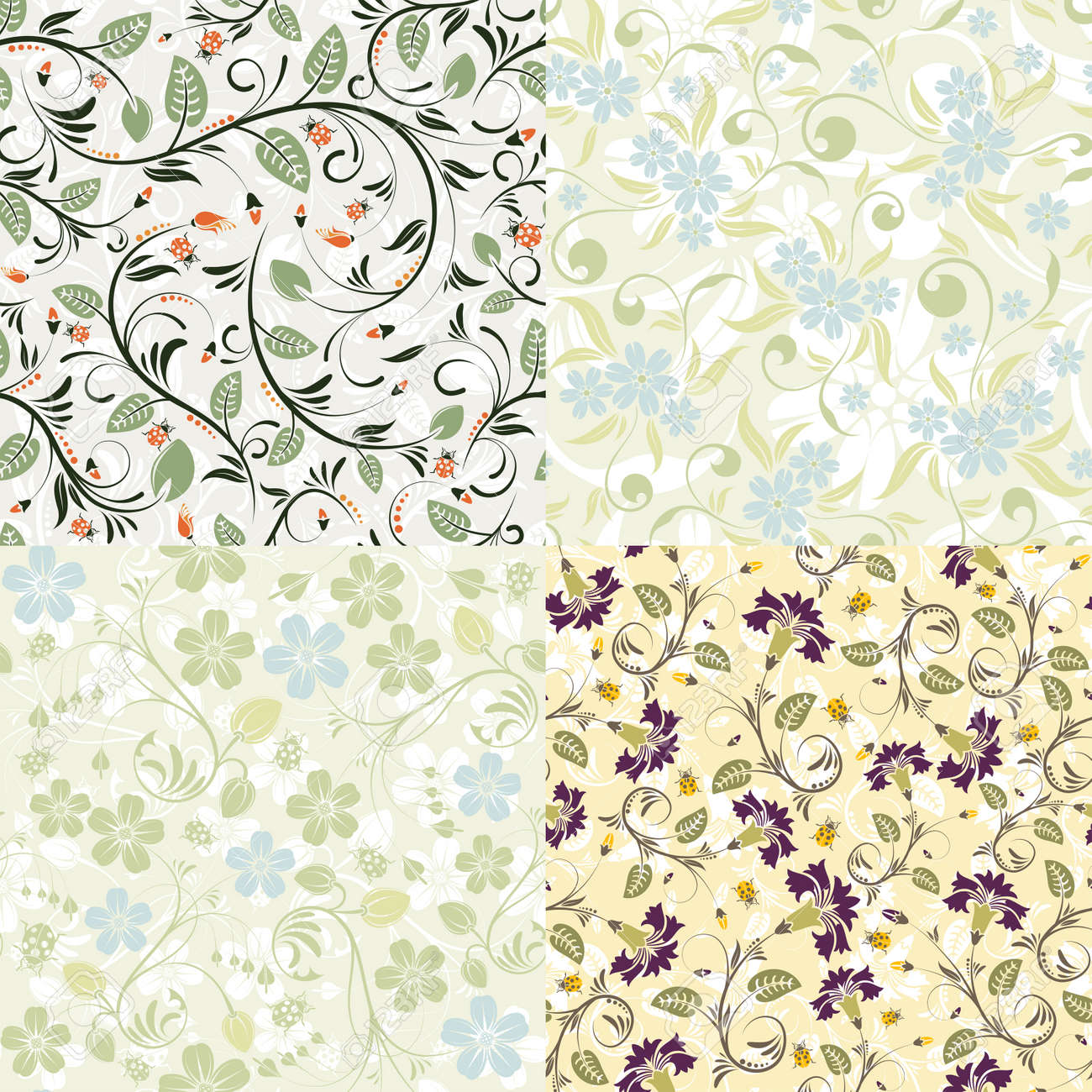 4 flower seamless patterns with ladybug vector template for