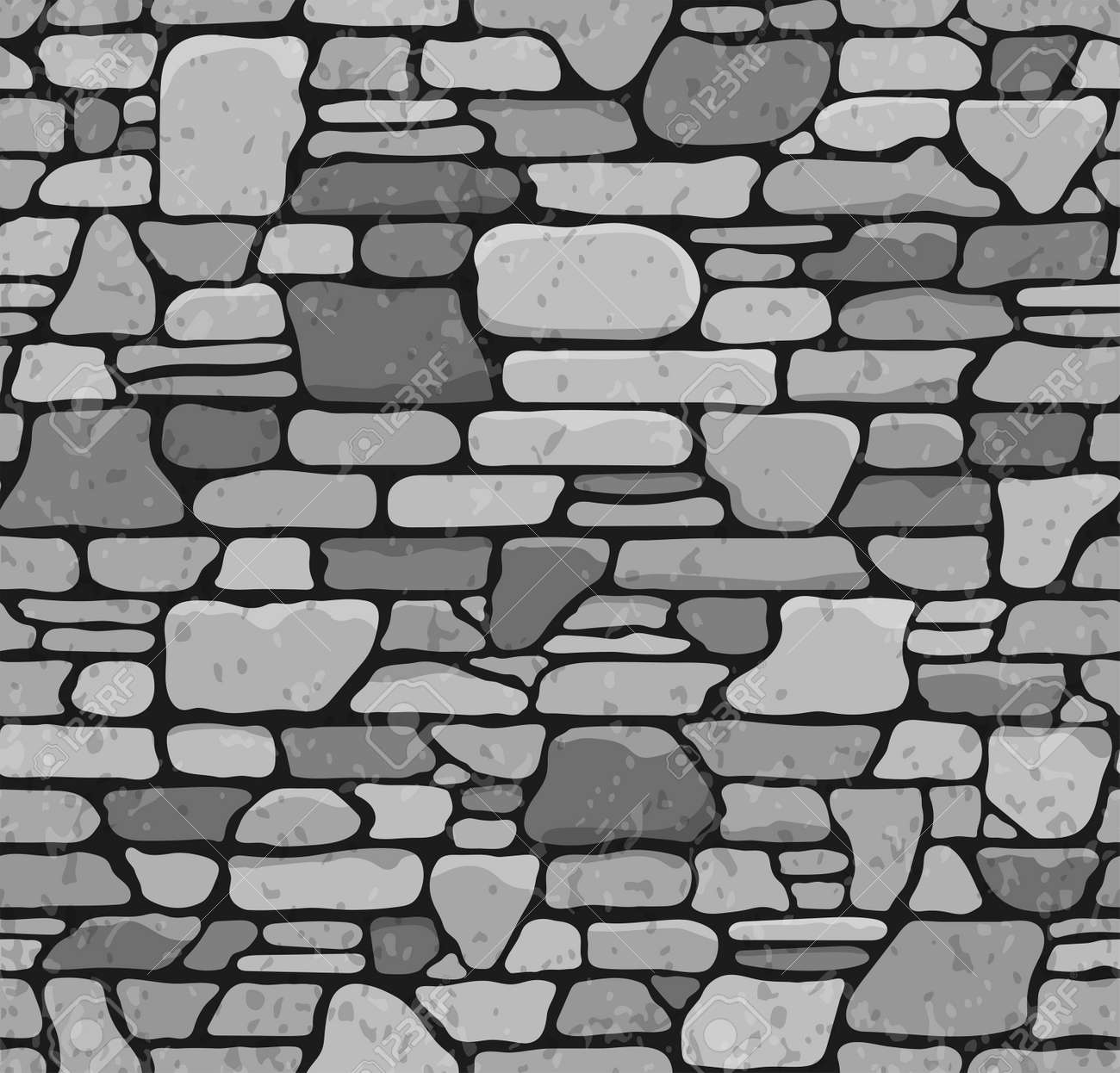 Seamless Grunge Stone Brick Wall Texture Vector Illustration Stock