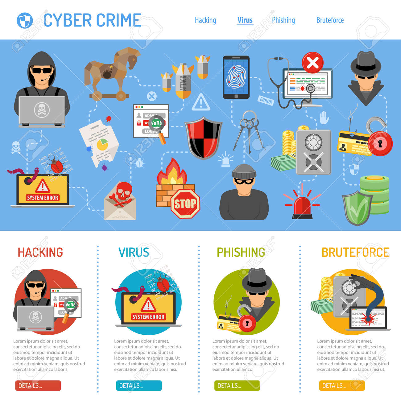 Internet Security and Cyber Crime Concept with Flat Icon Like Hacker, Virus, Spam, Thief. Vector for Flyer, Poster, Web Site and Printing Advertising. - 54413310