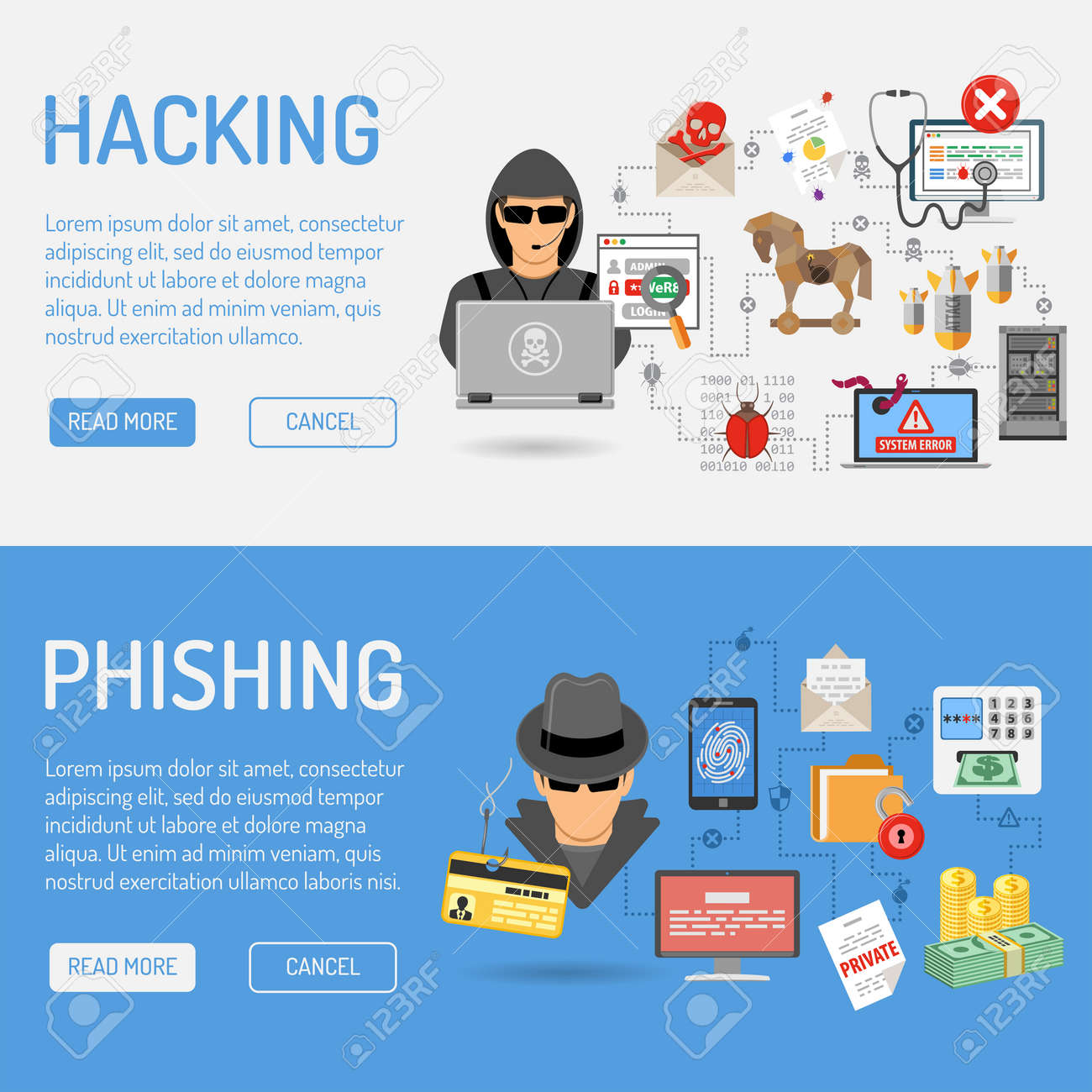 Cyber Crime Banners for Flyer, Poster, Web Site, Printing Advertising Like Hacker and Social Engineering. - 54413313