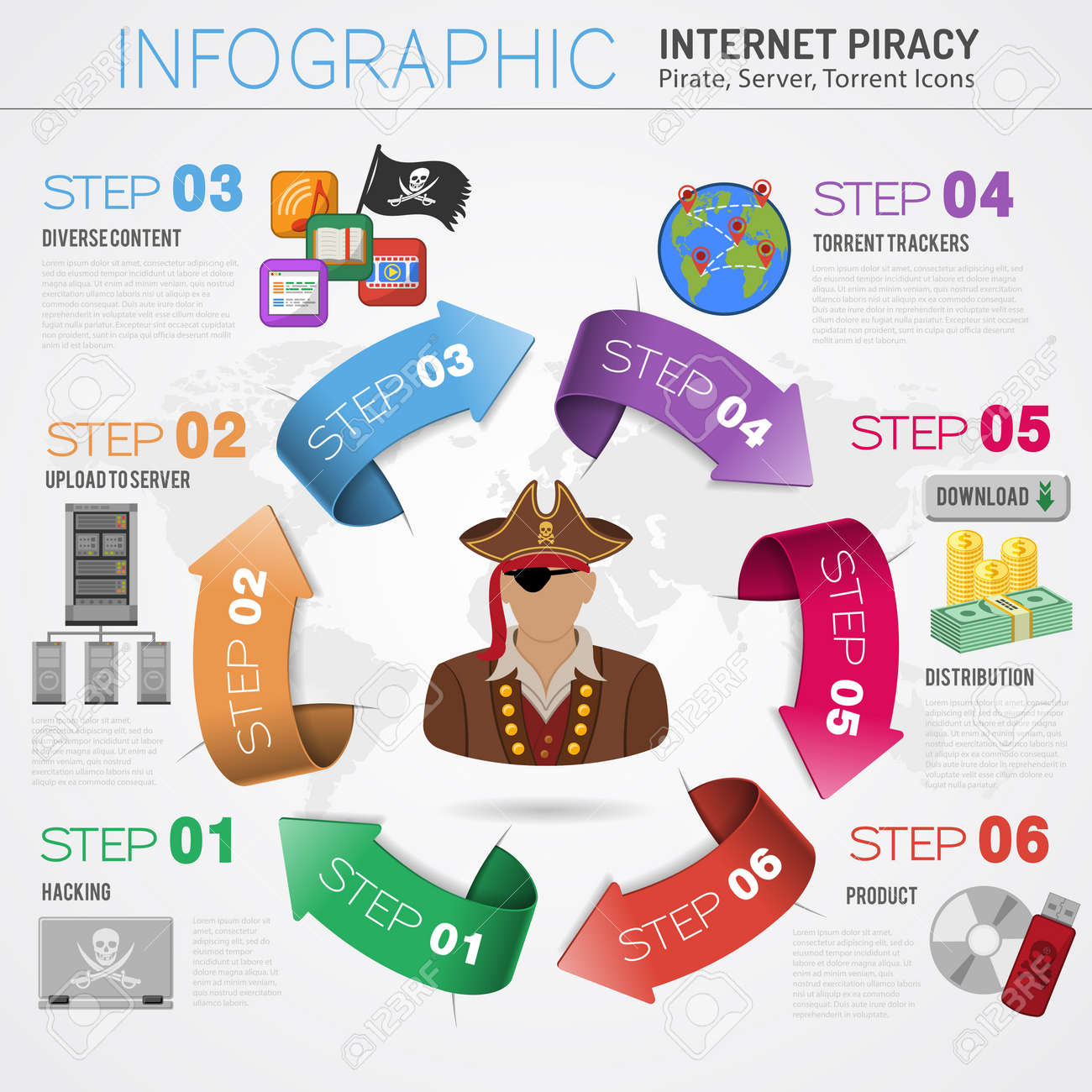 piracy vector concept with flat icons for flyer poster web