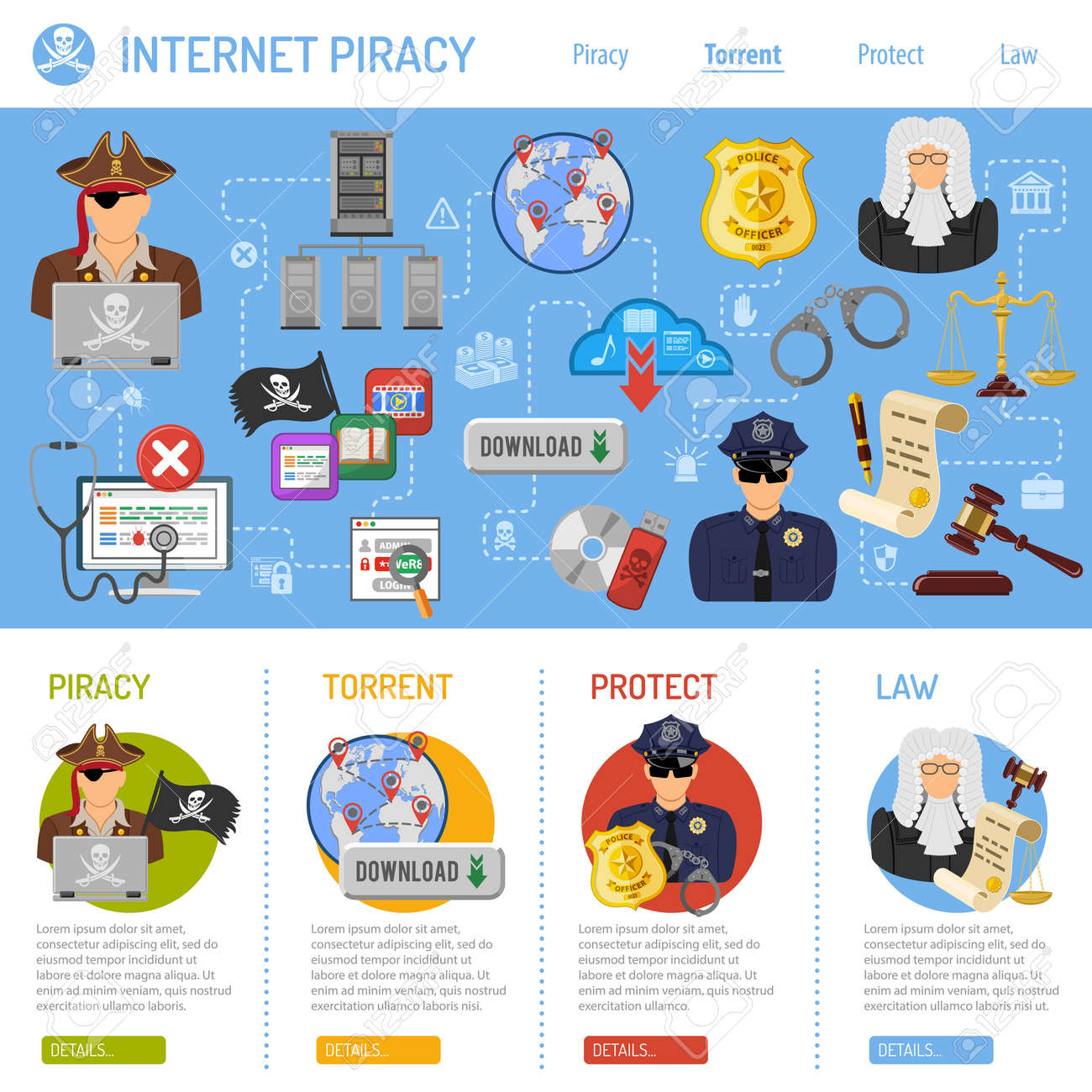 Piracy Vector Concept with Flat Icons for Flyer, Poster, Web