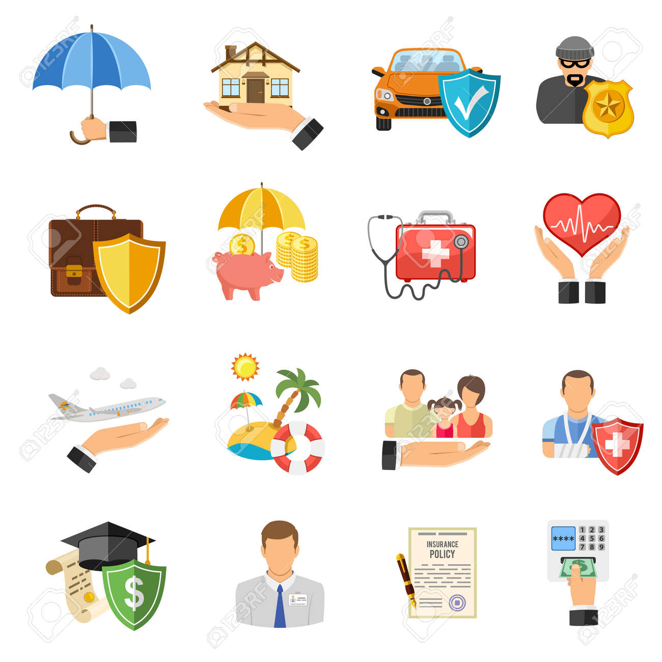 Insurance Flat Icons Set for Poster, Web Site, Advertising like House, Car, Medical and Business . - 54418179