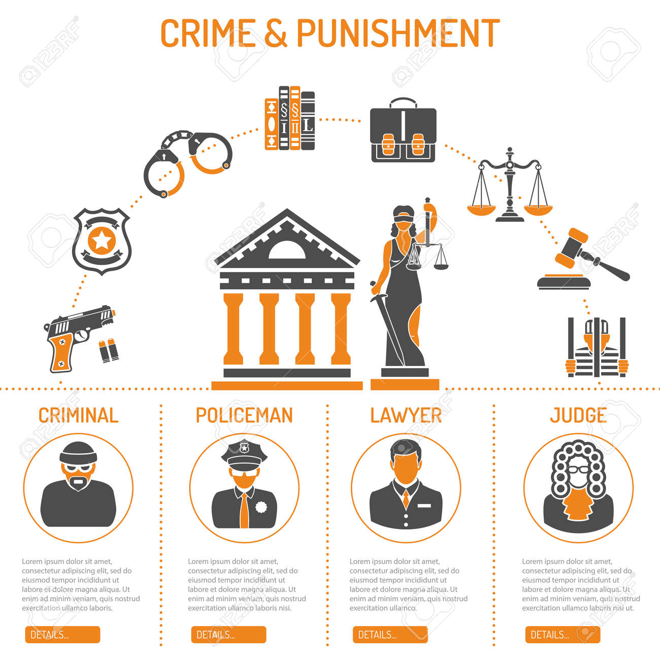 Crime and Punishment Vector Concept with Flat Icons for Flyer, Poster, Web Site, Advertising Like Thief, Policeman, Lawyer, Judge, Lady Justice and Court House. - 54418180