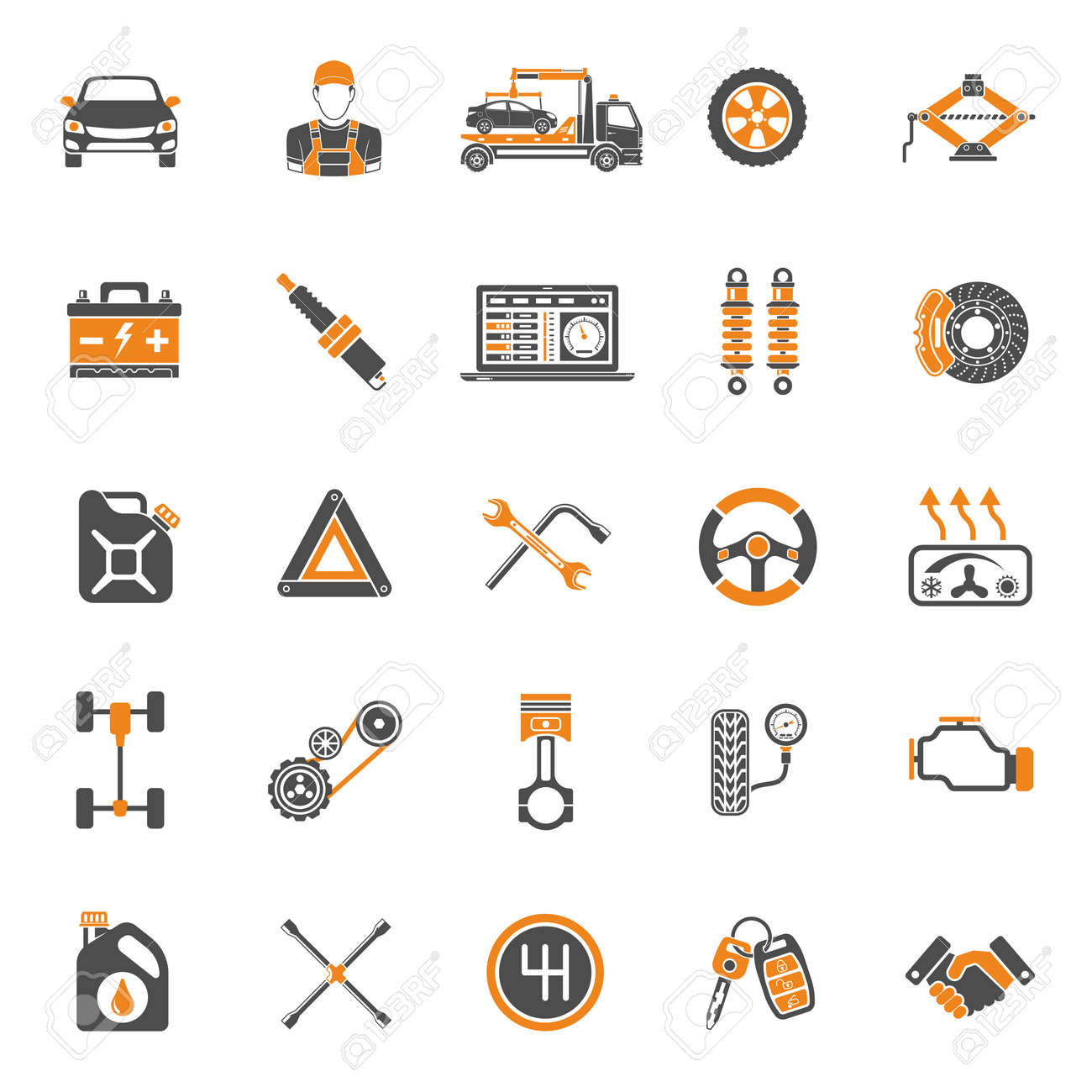 Car Service Two Color Icons Set for Poster, Web Site, Advertising like Laptop, Battery, Jack, Mechanic. - 55679961