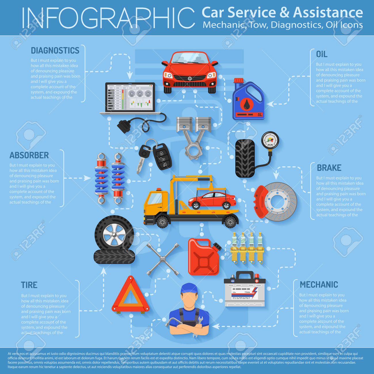 Poster design site - Car Service Infographics With Flat Icons For Poster Web Site Advertising Like Laptop