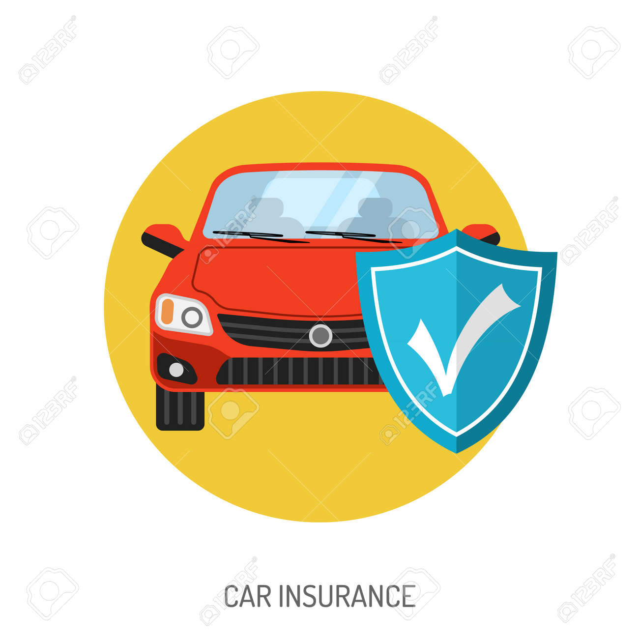 Car Insurance Flat Icon For Web Site Advertising With Shield