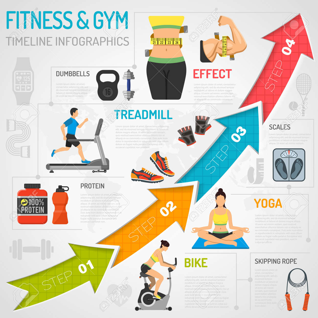 Fitness, Gym, Cardio, Yoga, Healthy Lifestyle Timeline Infographics for Mobile Applications, Web Site, Advertising with Exercise Bike, Dambbells, Treadmill and Arrows. - 55680057