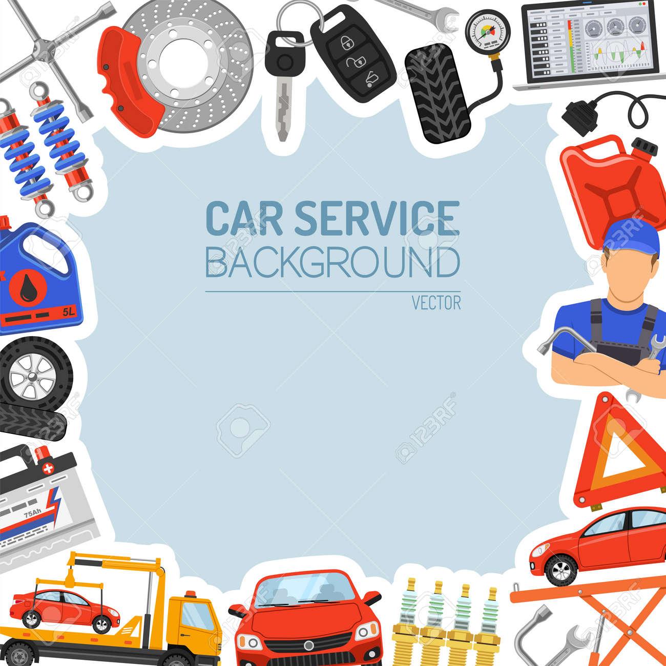 Auto-Service-Rahmen Mit Flat Icons Für Poster, Web Site, Werbung Wie ...