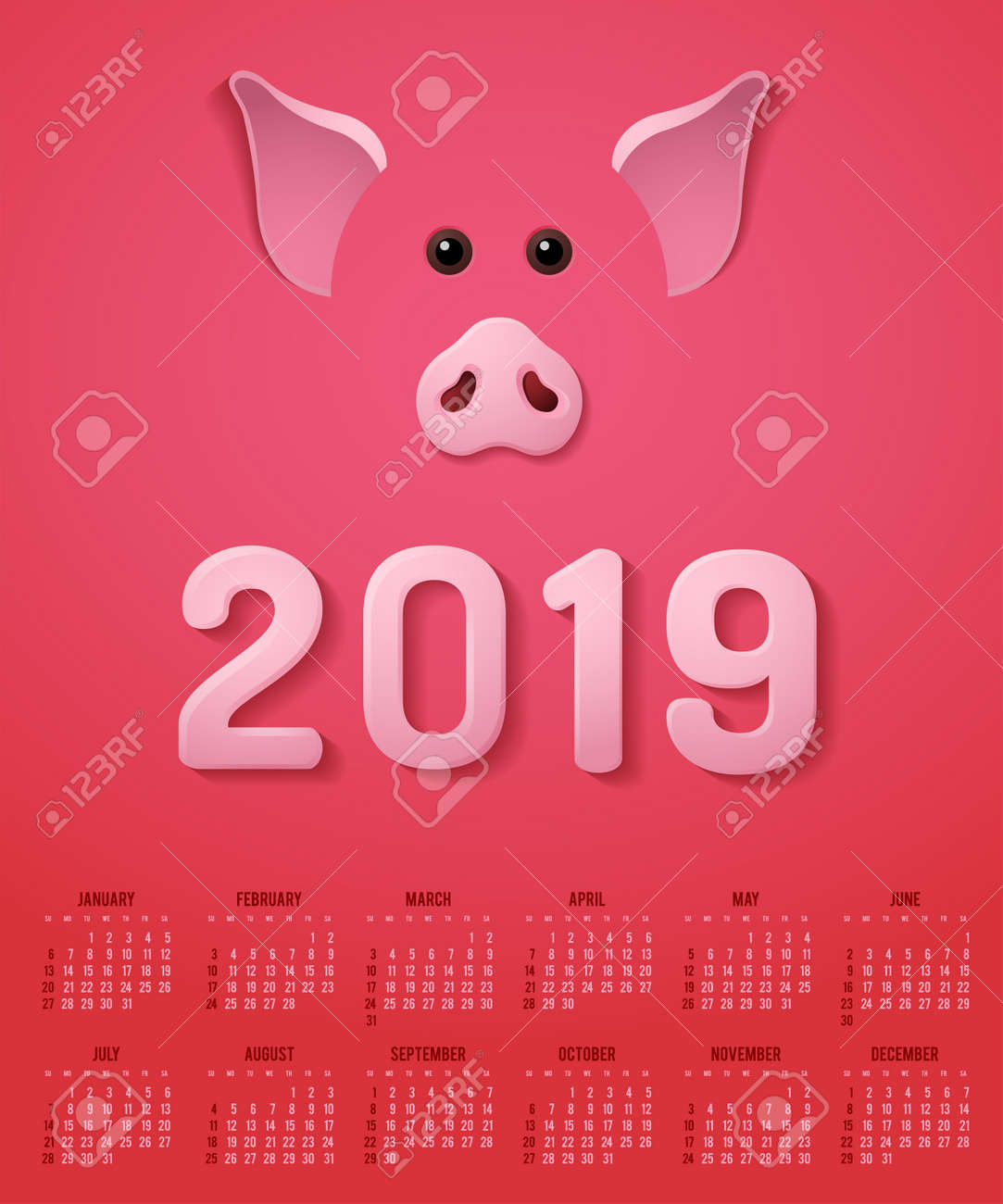 Pig Template | Happy New Year Calendar With Pig Theme Design Template Royalty Free