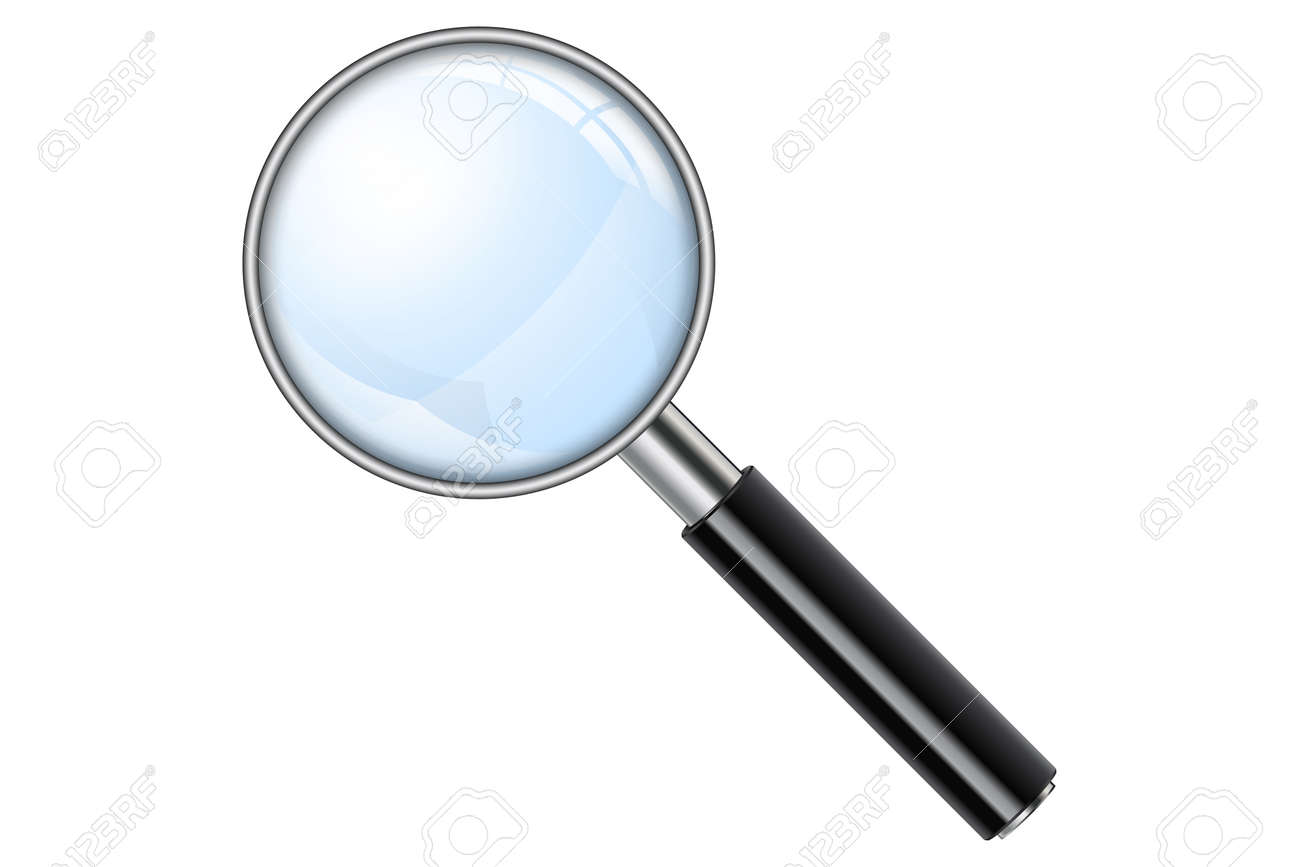 3D Realistic Magnifying Glass, Loupe, Magnify on white background. Isolated vector illustration. - 148460366