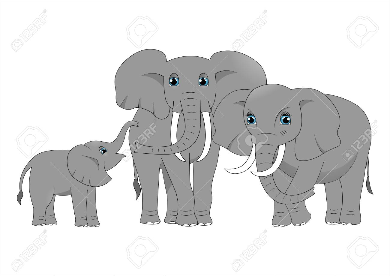 Family Of Cute Cartoon Elephants Royalty Free Cliparts Vectors And Stock Illustration Image 97557283