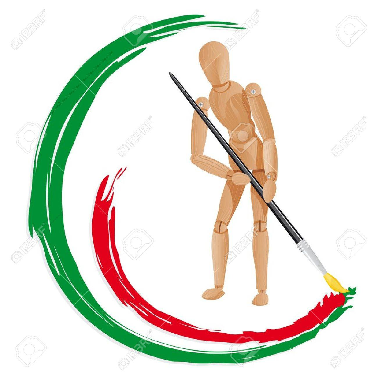 wooden figure paint with brush Stock Vector - 17986417