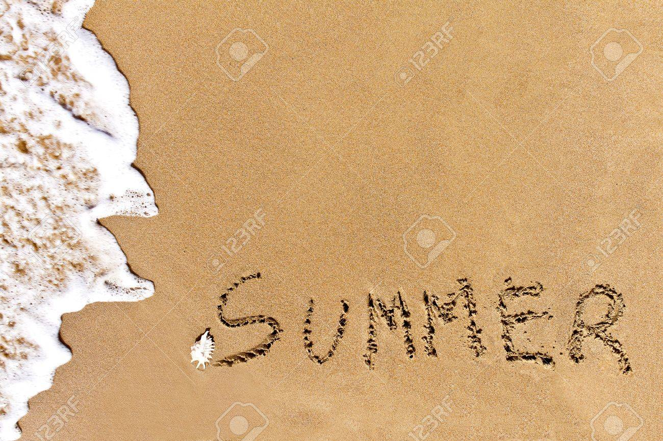 written summer drawn on the sand on a beach Stock Photo - 20212844