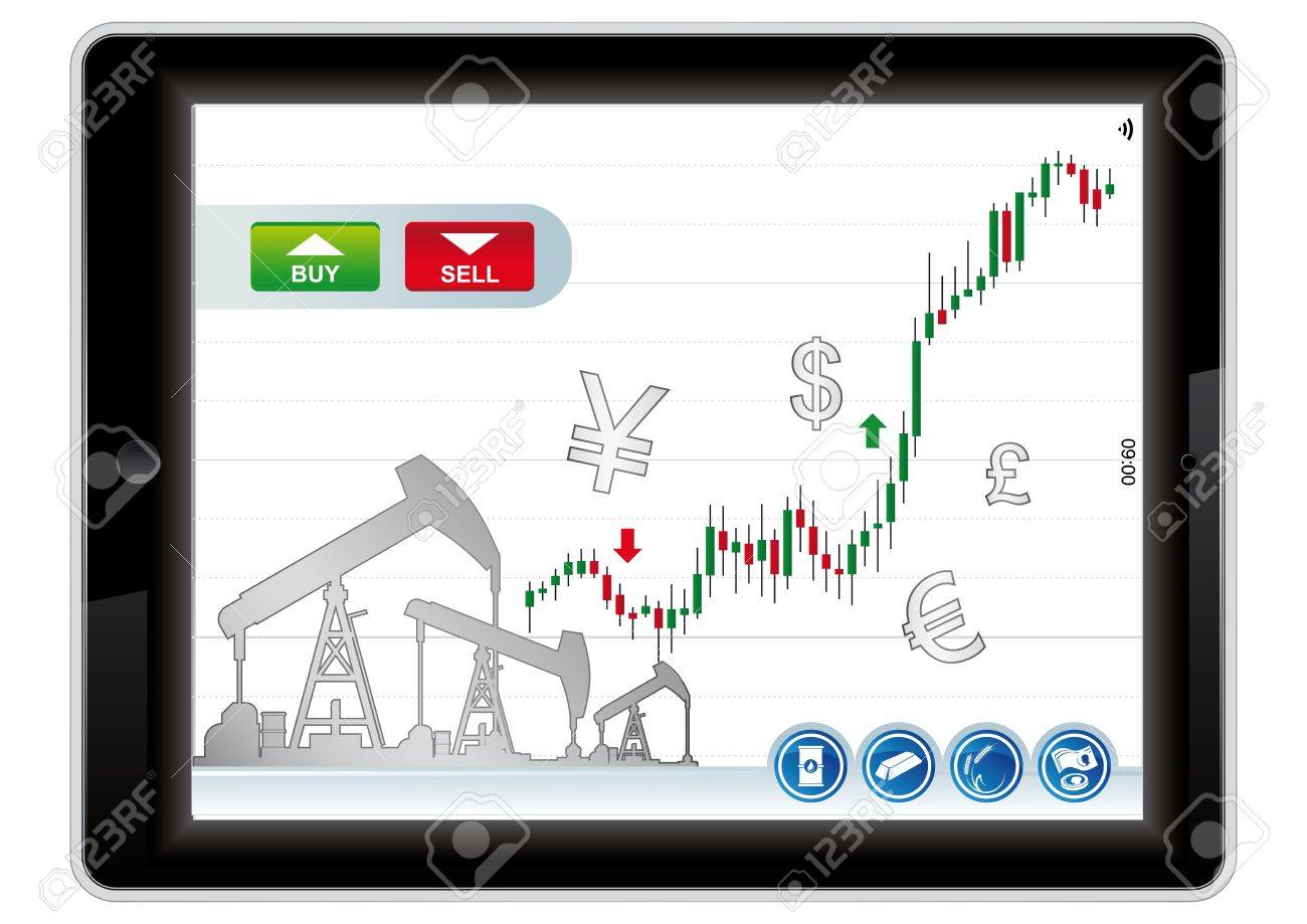 trading application for tablet on a white background Stock Vector - 20344150