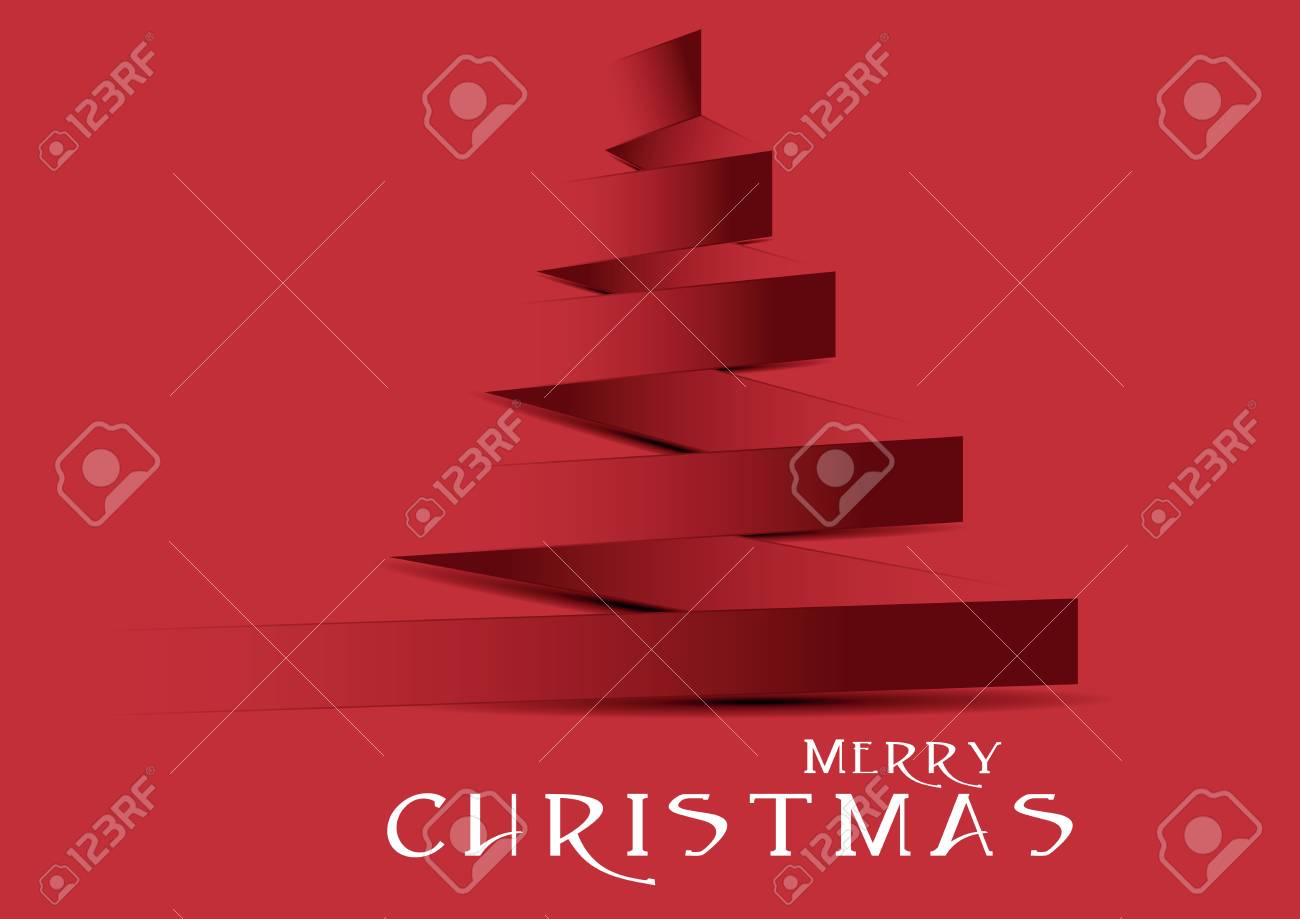 red christmas tree with black shadow and white text Stock Vector - 23290753
