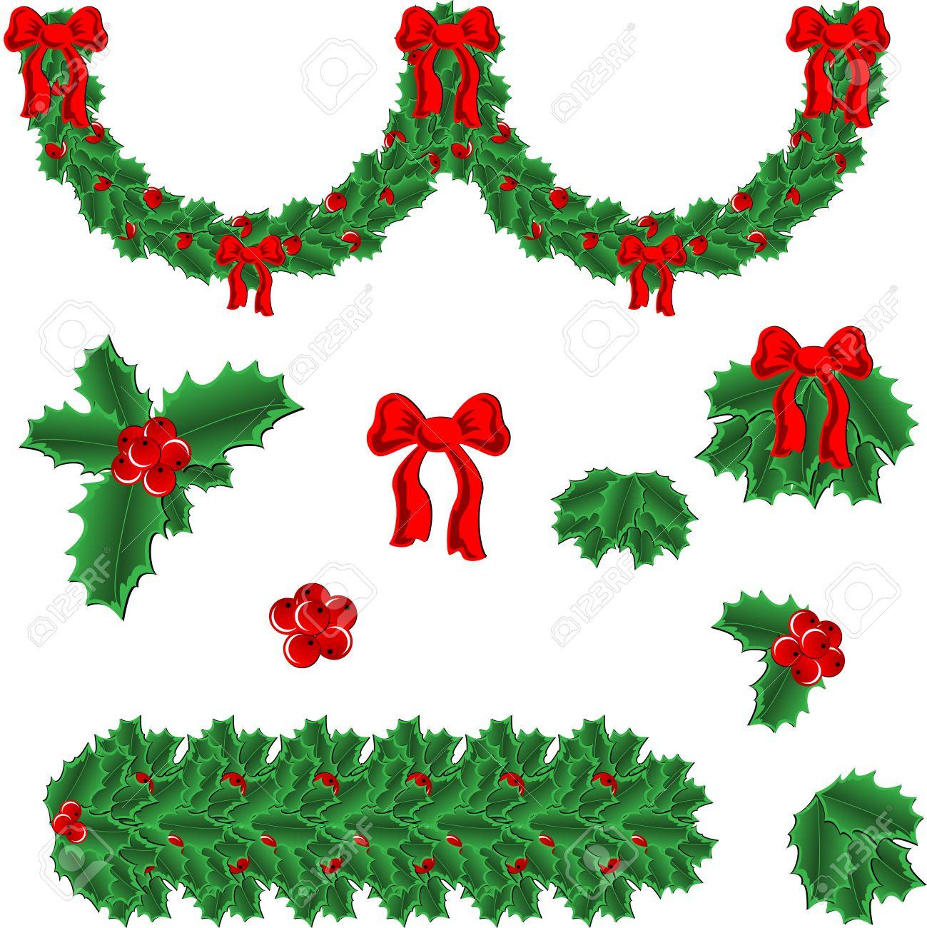 guirnalda de un vector y elementos del marco para decoracin de navidad de acebo foto de - Guirnalda De Navidad
