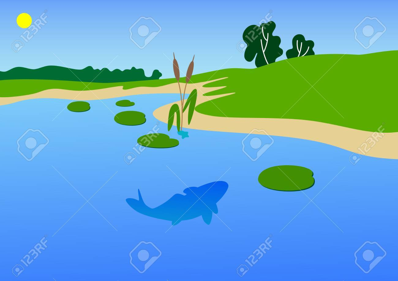 The vector image of a coast of a river with a summer day Stock Vector - 6368089