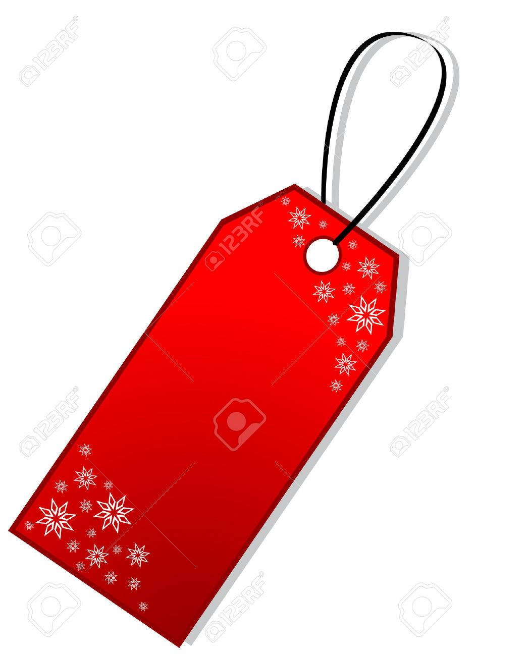 Christmas Gift Tag.Red Christmas Gift Tag With Snowflakes Isolated
