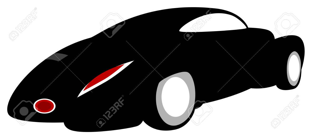 A car - Black Silhouette, isolated. Vector illustration Stock Vector - 6682327