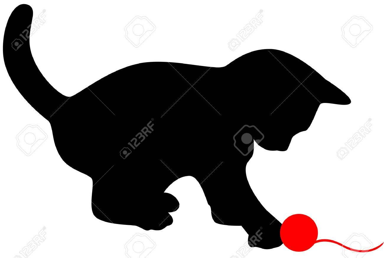 Gato Poco Jugando Con Clew Rojo Ilustración Vectorial