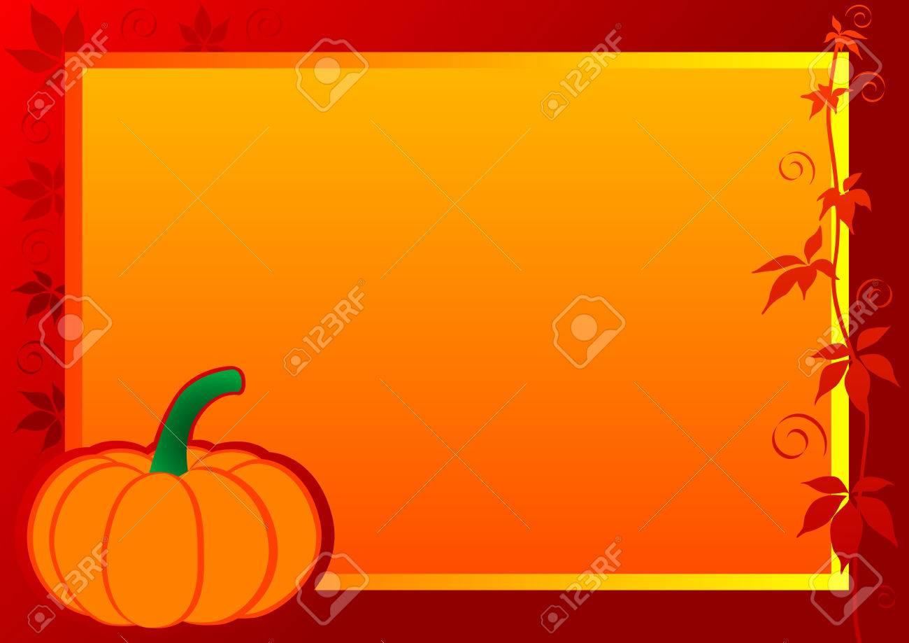 Autumn Frame with pumpkin and leaf. illustration. - 7090931