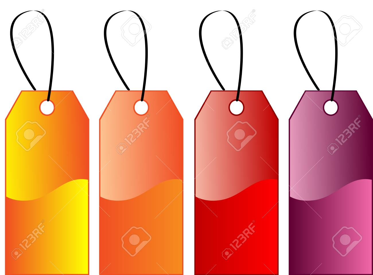 Beautiful Various different coloured gift tags, isolated Stock Vector - 7296405