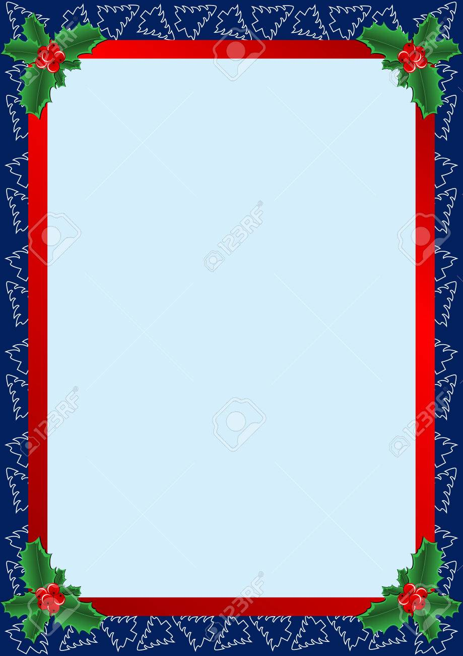 beautiful frame with Christmas trees and holly Stock Vector - 7547678
