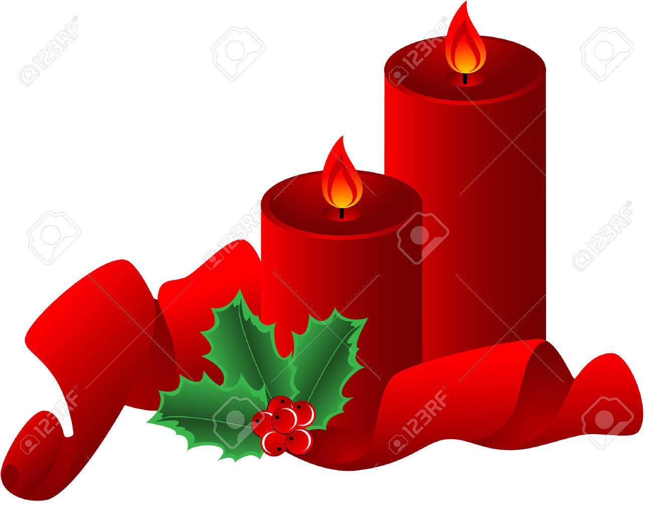 Christmas composition  with red candle, ribbon and Holly Border, isolated.  illustration Stock Vector - 7557896