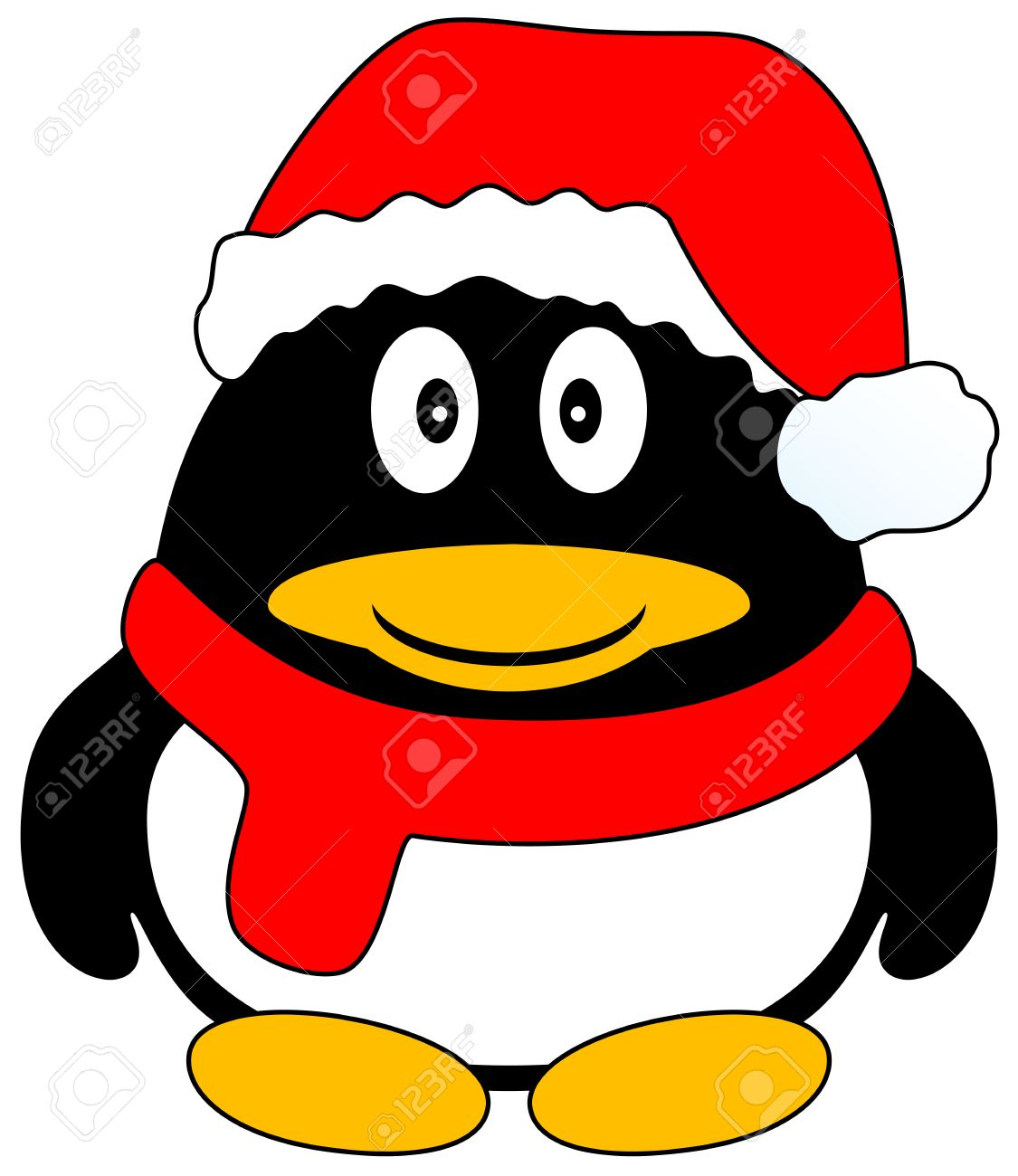 Cute Happy Cartoon Penguin With Red Cap And Scarf Isolated Vector Illustration