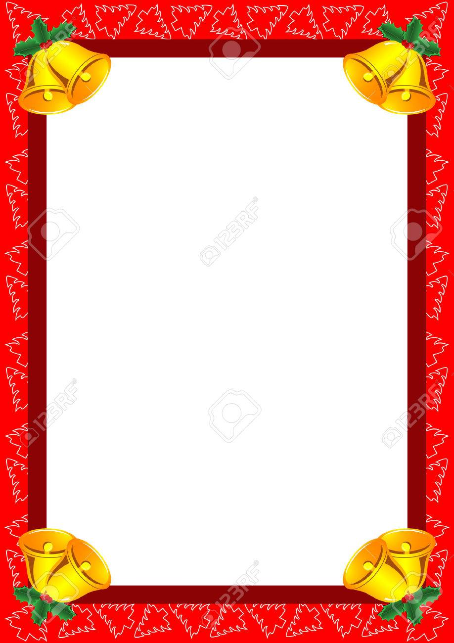 Beautiful frame with Christmas trees, bells and holly Stock Vector - 8384635