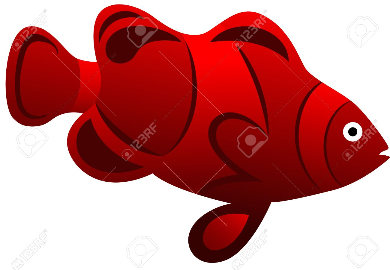 Illustration of a red exotic fish, isolated