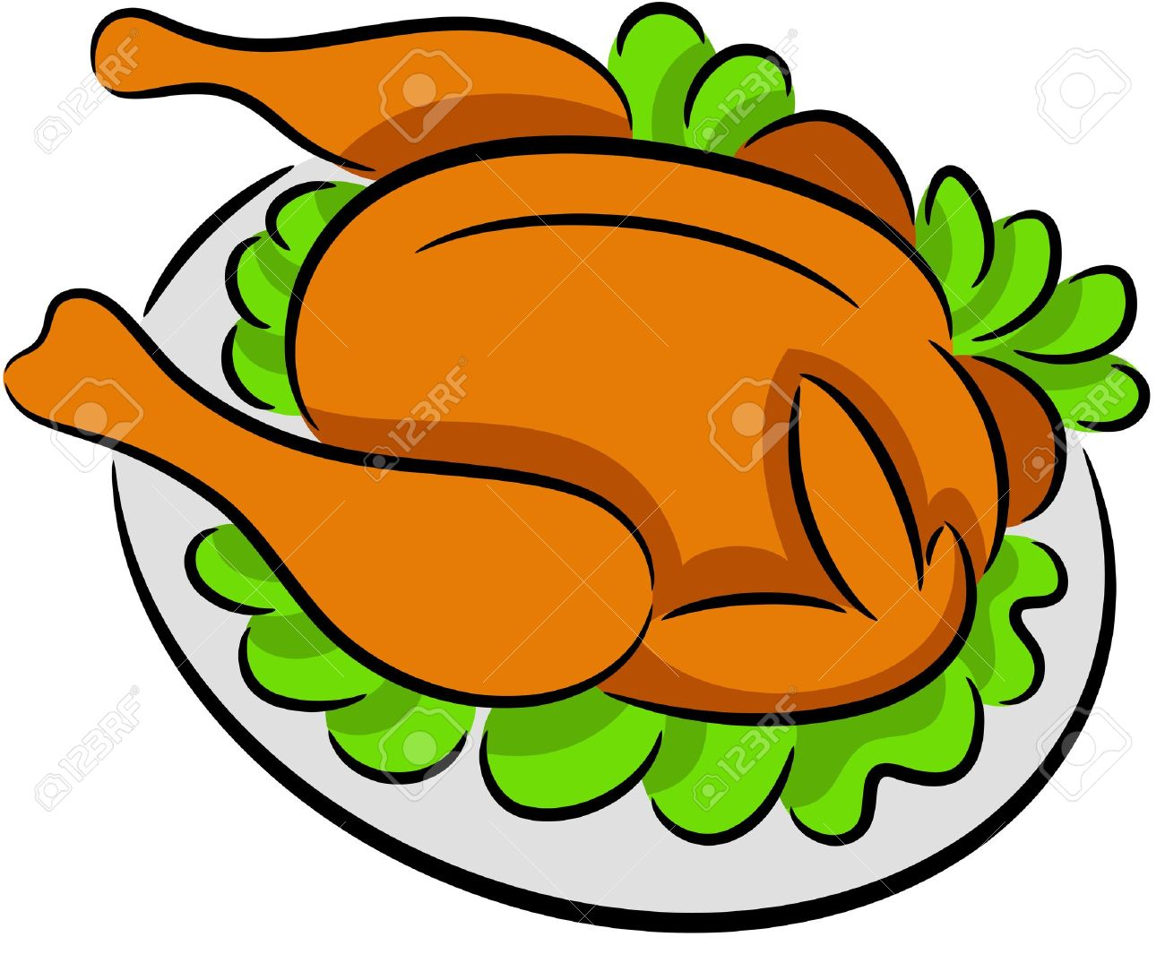Illustration of grilled chicken in a plate, isolated Stock Vector - 13563888