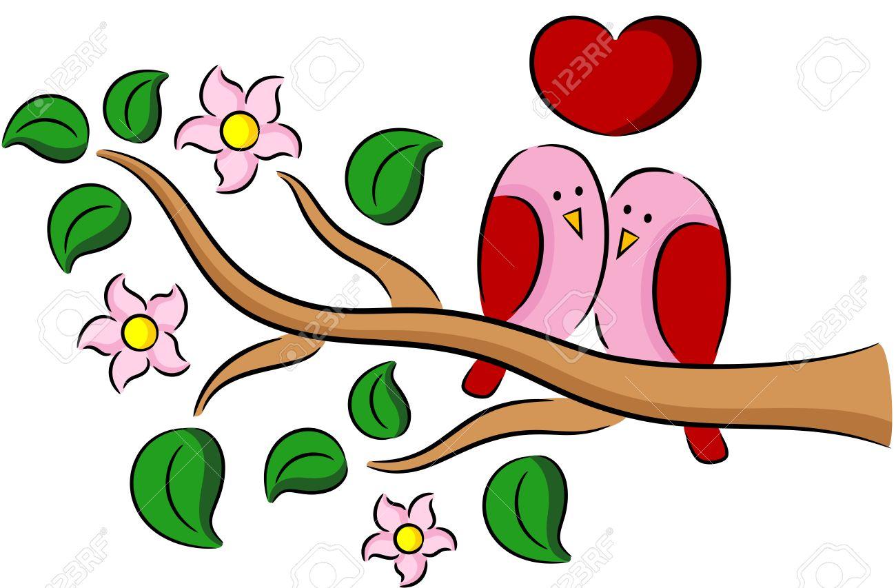 Ilustración De Pájaros De La Primavera De Dibujos Animados En El