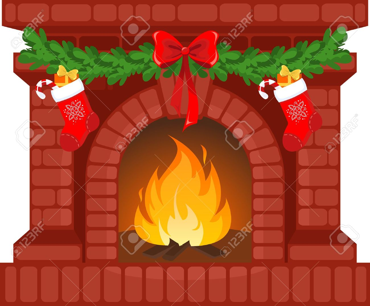 vector illustration of christmas fireplace with socks royalty free rh 123rf com Victorian Christmas Fireplace Christmas Fireplace Mantel