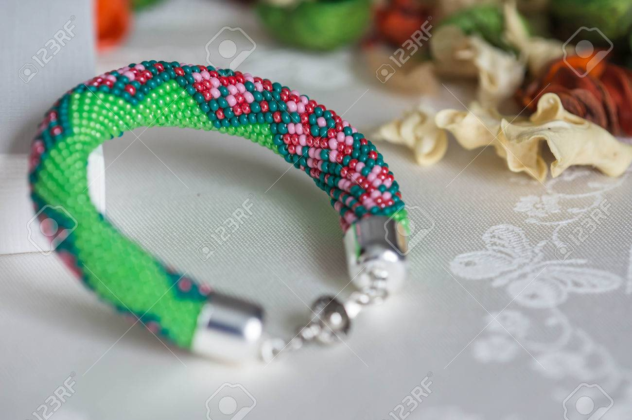 Beaded Crochet Bracelet With Floral Pattern Stock Photo Picture And